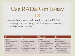 expository writing ppt video online  use radar on essay now that you ve had practice use the radar strategy