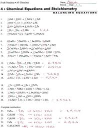 balancing chemical equations worksheet answer key printable 993455