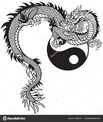 Východní Dragon Yin Yang Symbol černobílé Tetování Vektorové