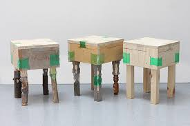 Furniture made from recycled plastic Outdoor Furniture Stools Made From Wood And Heated Recycled Plastic Bottles By Micaella Pedros Upcyclist New Life For Recycled Plastic Bottles As Furniture Joinery Upcyclist