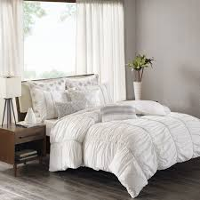 white cotton duvet cover king. Delighful White INKIVY Reese White Cotton Percale Ruched Metallic Twill Taped Duvet Cover  Mini Set Intended King T