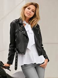 women s faux leather jacket with flap collar and studs venca