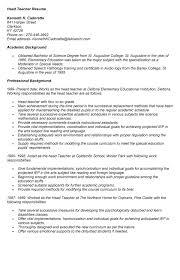 sample resume of head teacher resume - Head Teacher Resume
