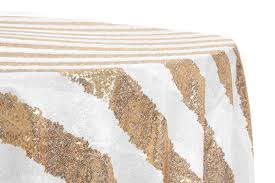 glitz sequin 120 round tablecloth stripe gold white