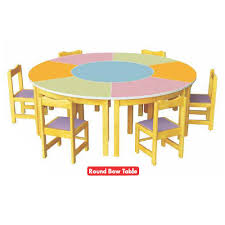 school kids round wood table and chair set