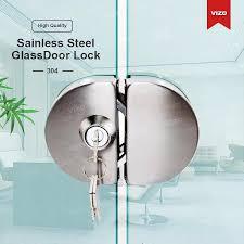 glass door lock stainless steel10 12mm double swing hinged frameless door