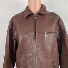 details about guess mens leather racer jacket m vintage 90s brown full zip