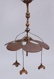 english arts and crafts copper and brass three light chandelier attributed to w a s benson by stair bidsquare