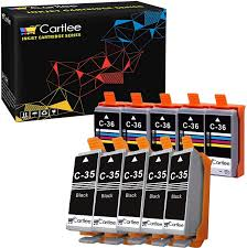 Canon Ip110 Ink Cartridge Red Light Cartlee 10 Compatible Pgi 35 Cli 36 High Yield Ink Cartridges For Pixma Ip100 Pixma Ip110 5 Black 5 Color