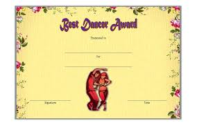 Dance Award Certificate Dance Award Certificate Template Free 1 One Package