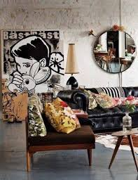 Boho Eclectic Decor Eclectic Decorating With Round Mirror And Drawing Art And Colorful