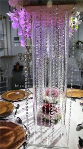 hanging crystals for wedding centerpieces. tall square acrylic centerpiece, crystal wedding flower stand hanging crystals for centerpieces