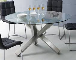 round glass dining table modern. round glass dining table with unique metal base modern