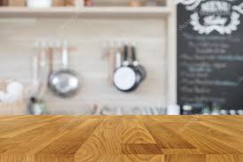 wood table top with blur kitchen background empty wooden table stock photo