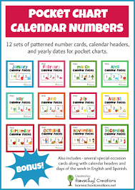 Spanish Date Chart Free Pocket Chart Calendar Card Set For The Entire Year