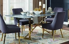 Modern Blackgoldwhite Metalstone Dining Table Arcade By Coaster