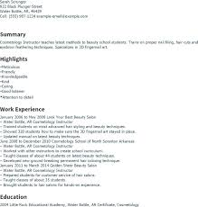 Resume For Cosmetology Instructor. Cosmetology Instructor Resume ...