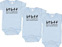 triplet boy baby gift set includes 3 bodysuits btf size 6 12 mo