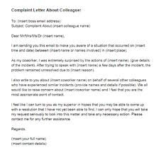 complaint letter about coworker sample just letter templates complaint letter about a colleague