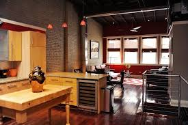 bachelor pad lighting. Not Your Typical Bachelor Pad: This View From The Kitchen Shows Red Accent Lighting Pad P