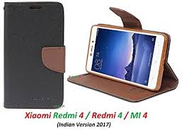 ridivishn flip cover case wallet style mi redmi 4 black brown