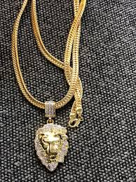 18k gold plated lion head pendant with 29 inch chain