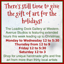 also the loading dock gallery which features many artists throughout the building and the local arts munity is featuring extended hours this week for