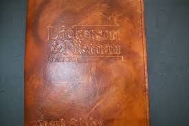 custom made custom leather portfolio with logo and personalization