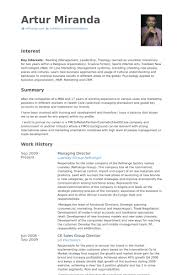 Managing Director Resume samples