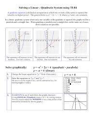 graphing a quadratic equation solving a linear quadratic system using ti