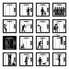 people in elevator clipart. things that people do inside elevator lift vector art illustration in clipart