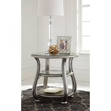 signature design by ashley cayne round wood end table in metallic silver finish t820 6