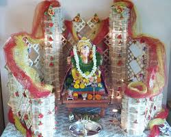 ganpati decor with fabrics theroyaleindia