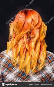 Zrzavé Vlasy Krásné Ombre Oranžové Stock Fotografie Happycity