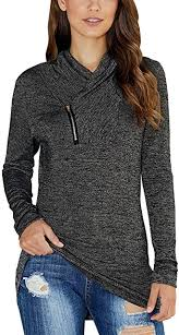 KIRUNDO 2020 Winter Women's <b>Long Sleeve</b> Pullover Zipper <b>Cowl</b> ...