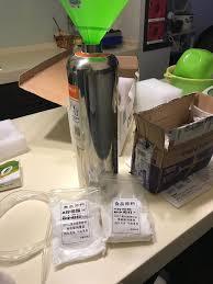 citric acid baking soda setup step 1 un the regulator from the tank