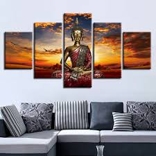 See more ideas about buddha wall decor, wall decor, wood panel walls. Meditating Buddha Bird At Sunset Poster 5 Panel Canvas Print Wall Art Home Decor 22 00 Picclick