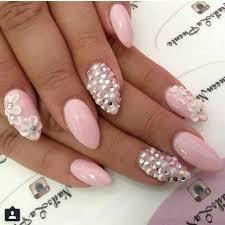 Light Pink Nails With Rhinestones Light Pink Nails Rhinestones Pearls Flowers