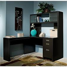 image of contemporary l shaped computer desk with hutch