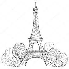Doodle Eiffelova Věž Ručně Kreslenou Vektorové Skica Stock