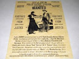bonnie clyde wanted poster exact reproduction on lb parchment  categories