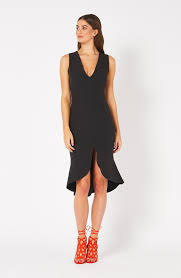 Vesper Ida Black Frill Hem Plunge Midi Dress – Vesper247