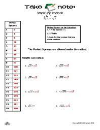 Take Note Simplifying Radicals