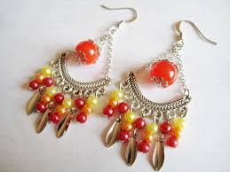 indian style chandelier earrings in red orange and yellow theme images of
