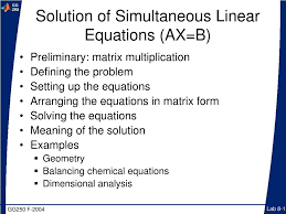 solution of simultaneous linear equations ax b preliminary matrix