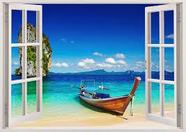 tropical beach wall spectacular window wall decal