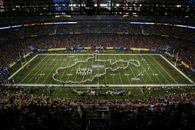 the wvu band performed simple gifts and country roads for pregame here is the band in the state outline i took the sound clip off since the sound