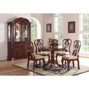 Round dining table set Rustic Formal Traditional Dining Room 5pc Set Cherry Wood Finish Round Dining Table Set Accent Floral Pattern Salesammo Round Dining Table Sets