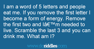 i am a word of 5 letters and people eat me if get the answer doriddles
