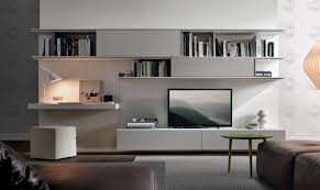 Wall Cabinets Living Room Contemporary Tv Wall Unit Lacquered With White Storage With